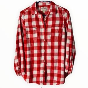 Red and White Plaid 100% COTTON, Button Down Shirt